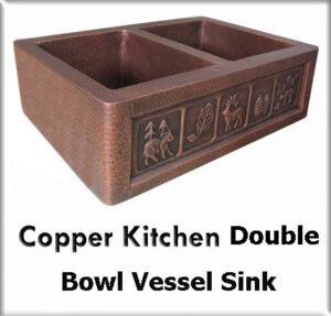 Copper kitchen double bowl vessel sinks