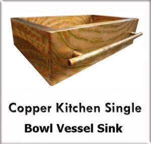 Copper kitchen single bowl vessel sinks