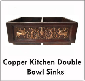 Copper kitchen double bowl sinks