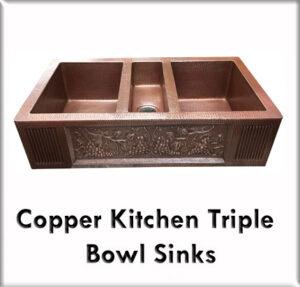 Copper kitchen triple bowl sinks