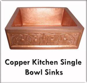 Copper kitchen single bowl sinks