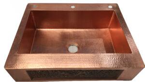 custom copper vessel sink with 5inch back flange