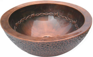 copper sink with coffee patina and barbwire design