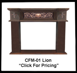 fireplace mantel with lion design