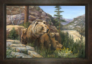 copper mural with a bear