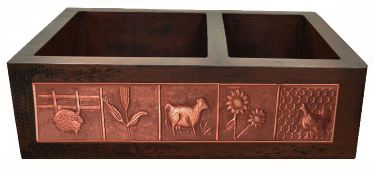 Copper Sink Patina: Brown- Dark Design Patina: Old Penny Sink Surface Texture: Hand Hammered