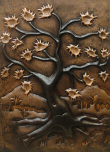 copper mural with tree and leaves