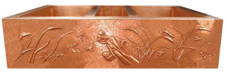 Copper Sink Patina: Golden Bronze Design Patina: Golden Bronze Sink Surface Texture: Hand Hammered