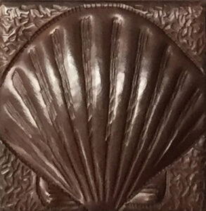 copper tile with shell fish design
