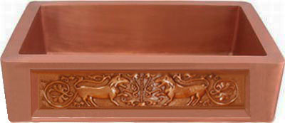Copper Sink Patina: New Penny Design Patina: Golden Bronze. Sink Surface Texture: Smooth