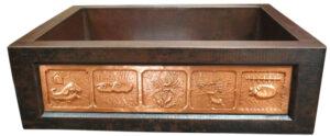 Copper Sink Patna: Brown-Dark Design Patina: Golden Bronze Sink Surface Texture: Hand Hammered Design Surface Texture: Smooth