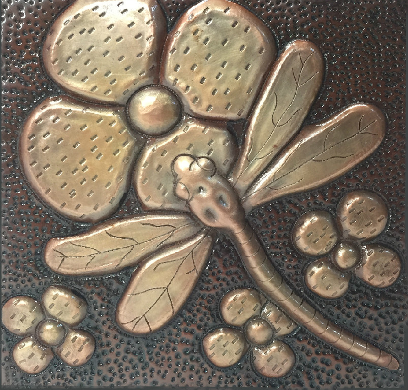 copper tile dragon fly on a flower design