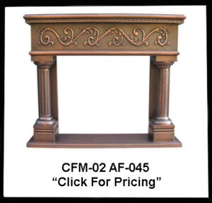 copper fireplace mantel with columns design