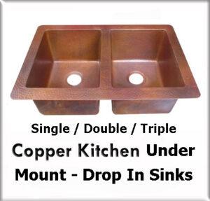 copper kitchen under mount drop in sink