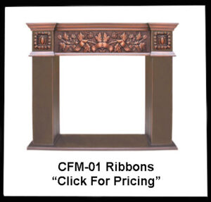 copper fireplace mantel with ribbon design