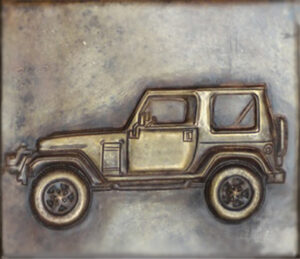 custom copper tile with a jeep design