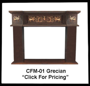 copper fireplace mantel with grecian design