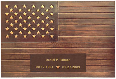 copper american flag grave marker