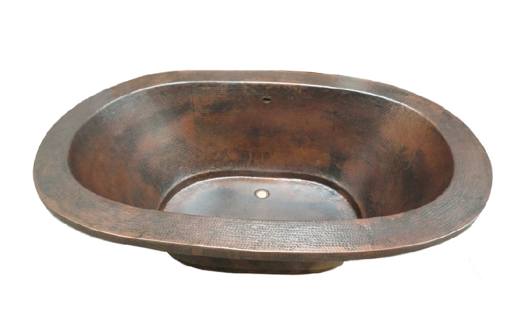 copper bath tub brown-dark