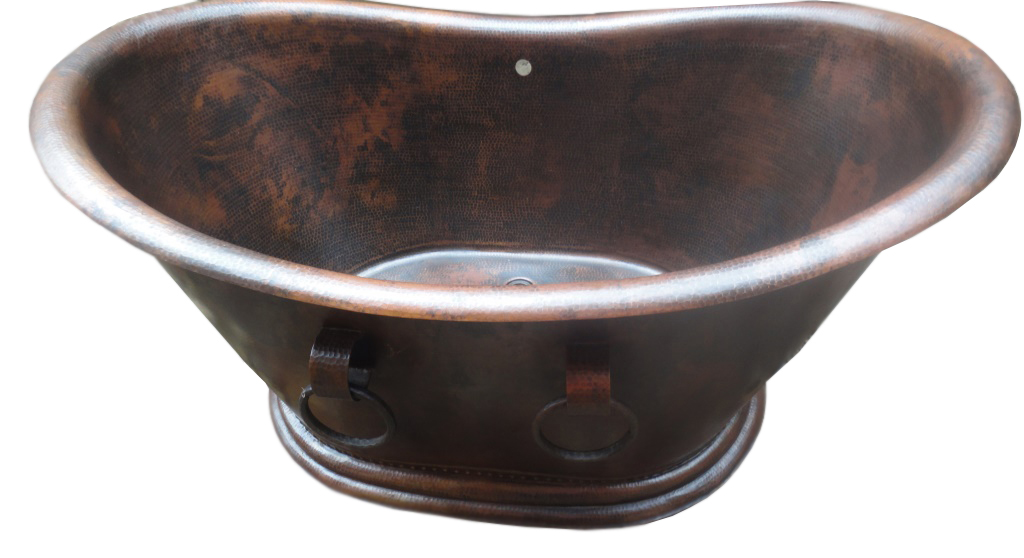 copper bath tub in dark brown splotch
