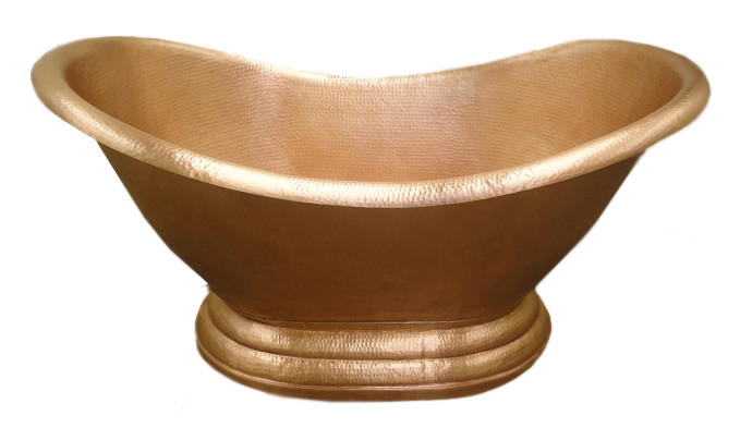 copper bath tub with golden bronz patina finish