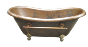 copper bath tub in new coffee patina finish