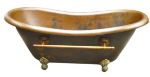 copper claw foot tub with towel bar and coffee patina