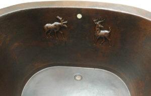 copper design inside copper bath tub