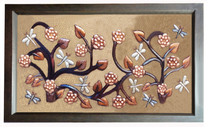 Background Golden Bronze, Dark Limbs, Mate Flowers, Old Penny Leaves And Nickel Plated Butterflies