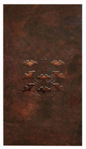 copper shower wall with design
