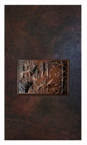 copper shower wall with mural design