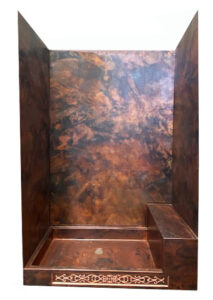 copper shower with raw patina