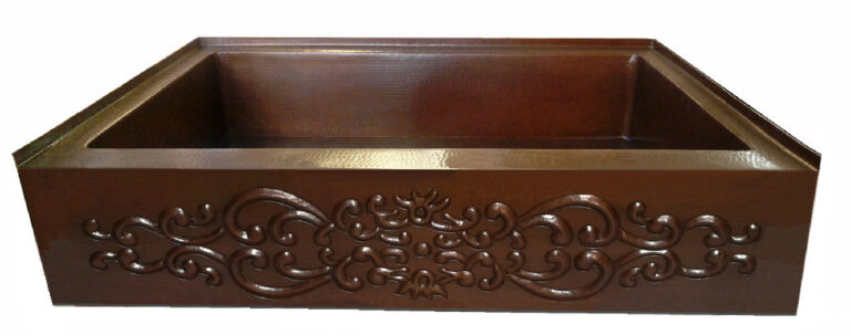 copper shower pan with apron design