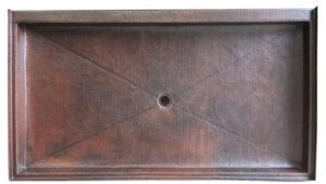 dark brown patina copper shower pan