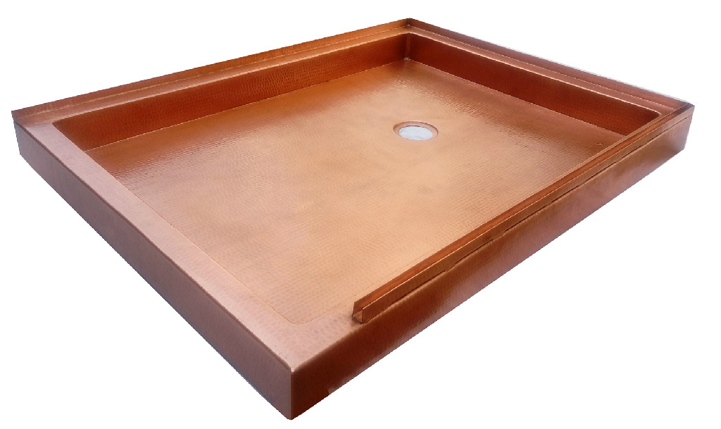 copper shower pan with double flange