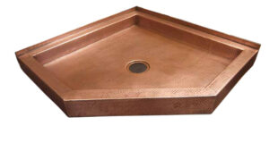 custom copper neo angle shower pan