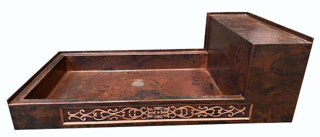 copper shower pan with rectangular bench seat