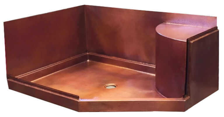 copper rectangle shower pan with walls and seat