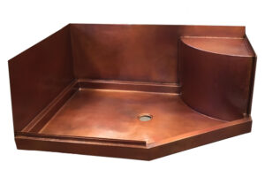 copper shower pan with walls and seat