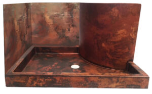 copper shower pan with walls in raw pitina
