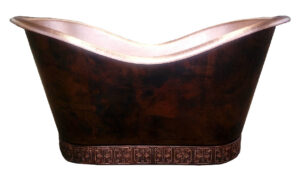 copper tub double slipper with copper tile base