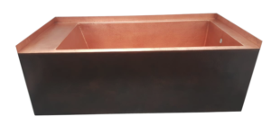 copper tub front apron with tile flange