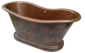 copper bath tub with rolled pedestal base