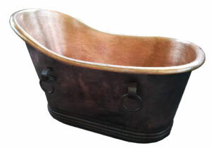 copper tub single slipper with towel bars
