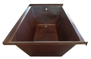 copper bath tub with tile flange