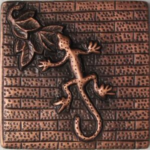 copper tile with gecko and brick design