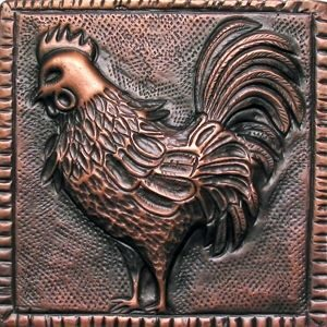 copper tile with rooster