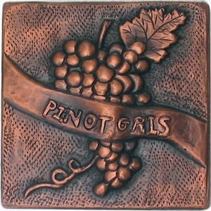 copper tile with grapes design