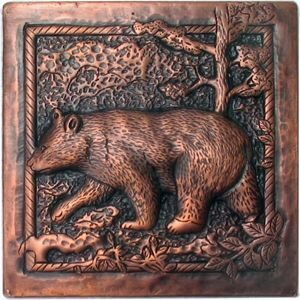 copper tile with bear design