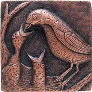 copper tile with baby bird being fed design